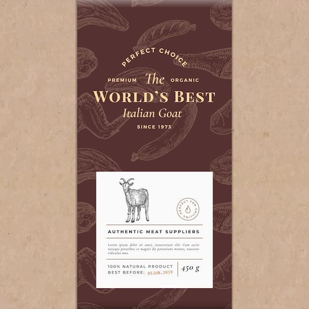 Najlepsze Na świecie Mięso Streszczenie Wektor Papier Rzemieślniczy Vintage Układ Okładki Darmowych Wektorów