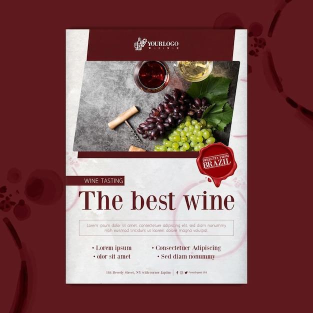 Najlepszy Szablon Plakatu Z Degustacją Wina Premium Wektorów