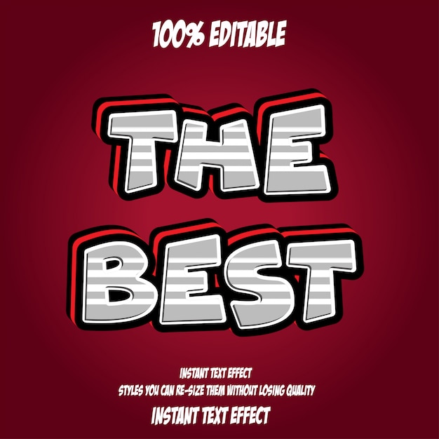 Najlepszy Tekst, Edytowalny Efekt Czcionki Premium Wektorów