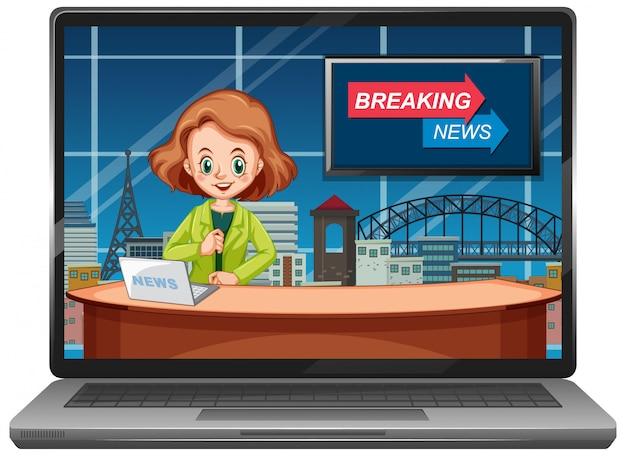 Najnowsze Wiadomości Na Ekranach Laptopów Darmowych Wektorów