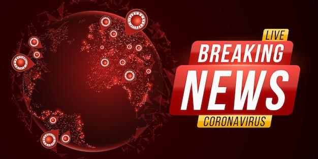 Najświeższe Wiadomości Z Covid-19. Futurystyczny świat Wirusa Corona. Niebezpieczna Infekcja Komórkowa. Planeta Ziemia Z Kosmosu Z Epidemią Grypy Koronawirusa. Premium Wektorów