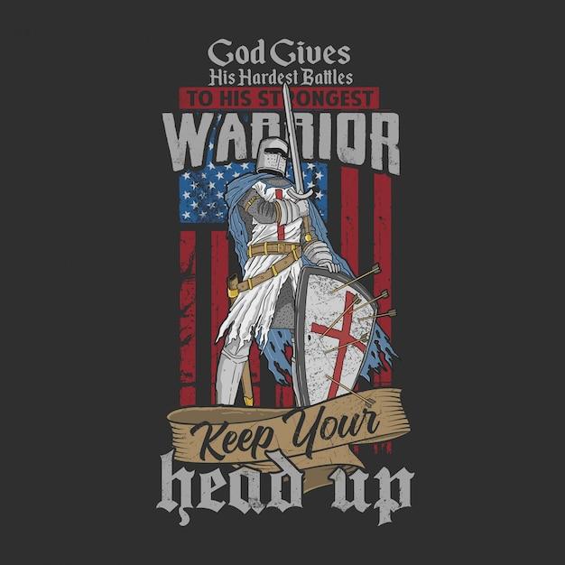 Największa Bitwa Amerykańskiego Wojownika Premium Wektorów