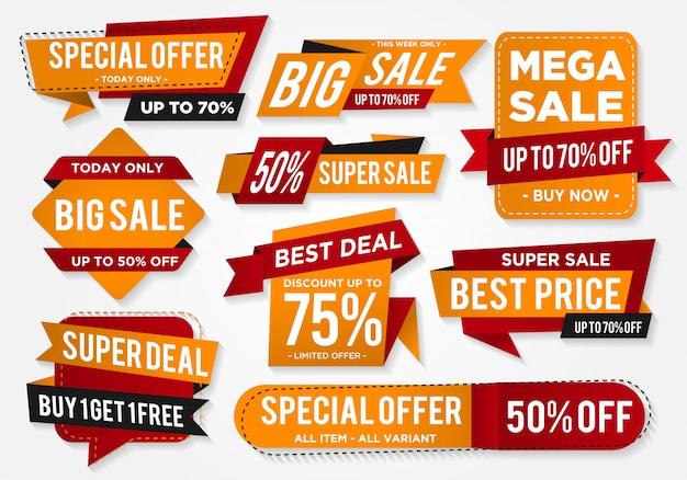 Naklejka sprzedaż zestaw z abstrakcyjnym kształcie Premium Wektorów