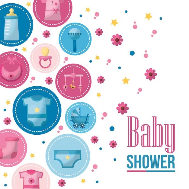 Naklejki Baby Shower Karty Ubrania Zabawki Kwiaty Tle Uroczystosci