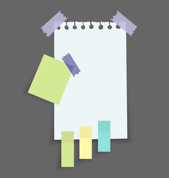 Naklejki Na Notatki Papierowe. Miejsce Na Notatki Na Kartkach Papieru. Premium Wektorów