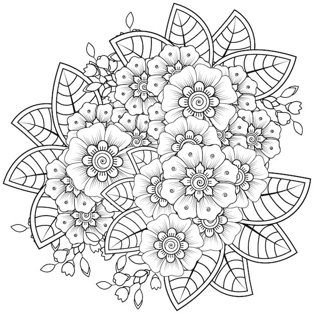 Nakreśl Kompozycję Kwiatową W Stylu Mehndi. Premium Wektorów