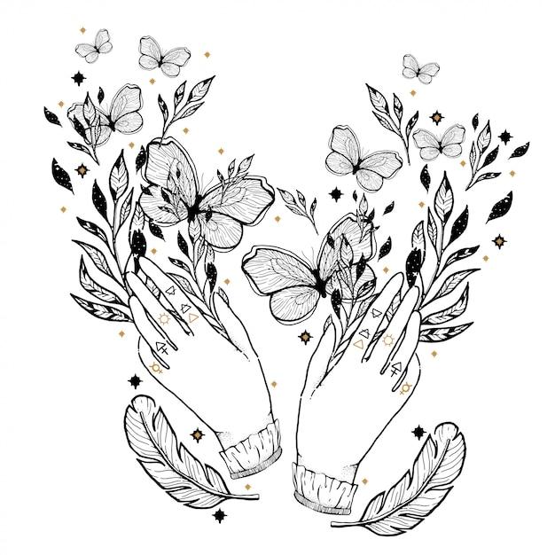 Nakreślenie Graficzna Ilustracja Z Mistycznymi I Okultystycznymi Ręka Rysującymi Symbolami. Premium Wektorów