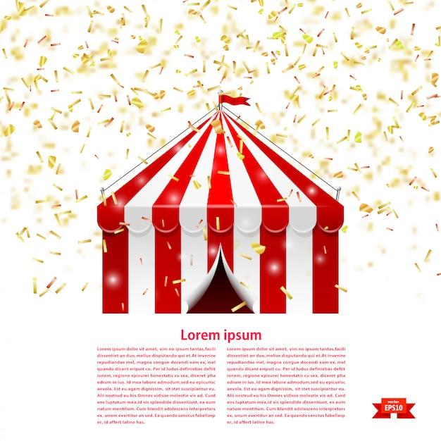 Namiot cyrkowy pod deszczem konfetti. Premium Wektorów