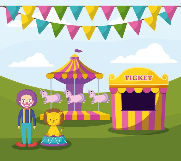 Namiot Cyrkowy Z Klaunem I Uroczymi Zwierzętami Premium Wektorów