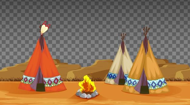 Namiot I Ognisko Obozujące Na Przezroczystym Premium Wektorów