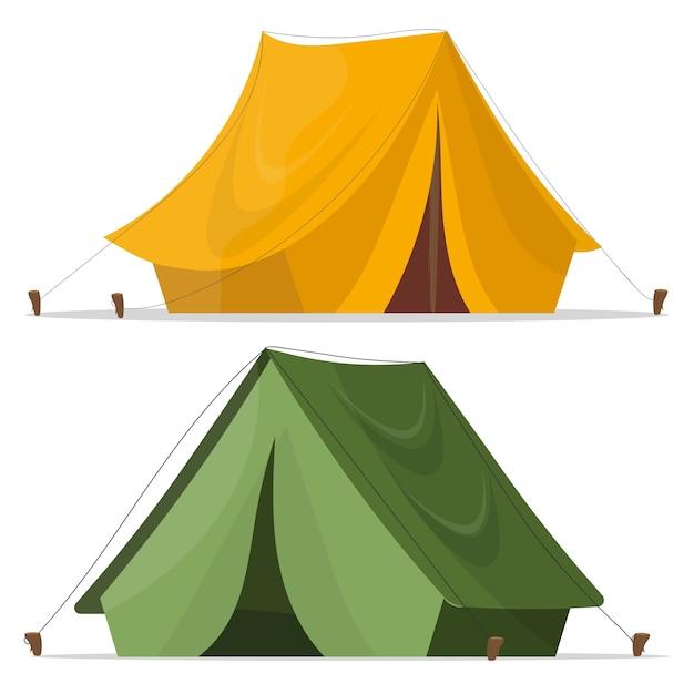 Namiot Kempingowy. Namiot Kempingowy W Kolorze żółto-zielonym. Projekt Namiotu Na Białym. Namiot Turystyczny. Premium Wektorów