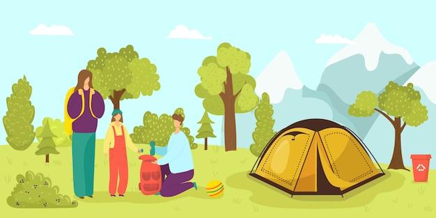Namiot Kempingowy W Lesie, Rodzina Na Lato Ilustracja Natura. Aktywność Turystyczna Na Wakacjach. Wypoczynek Przygodowy Z Kreskówek. Mężczyzna Kobieta Ludzie Podróże Na świeżym Powietrzu, Krajobraz Podróży Wakacyjnych. Premium Wektorów