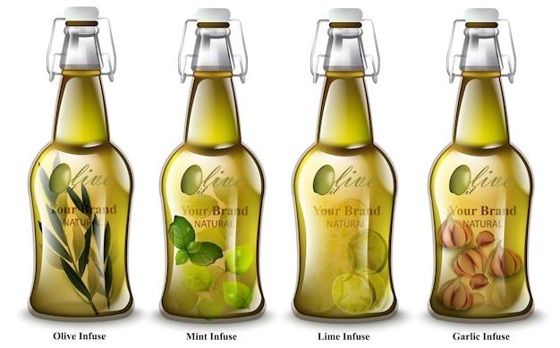 Napar Oliwy Z Oliwek. Realistyczne Butelki. Różne Smaki Mix. Opakowania Produktów Premium Wektorów