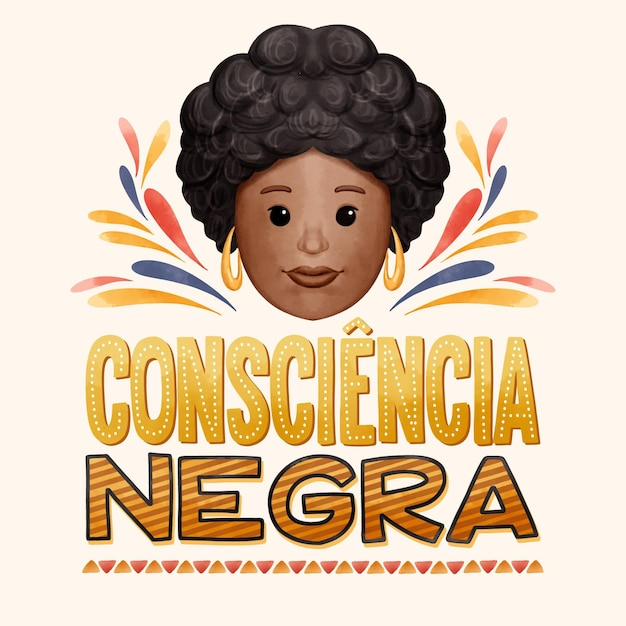 Napis Consciencia Negra Premium Wektorów