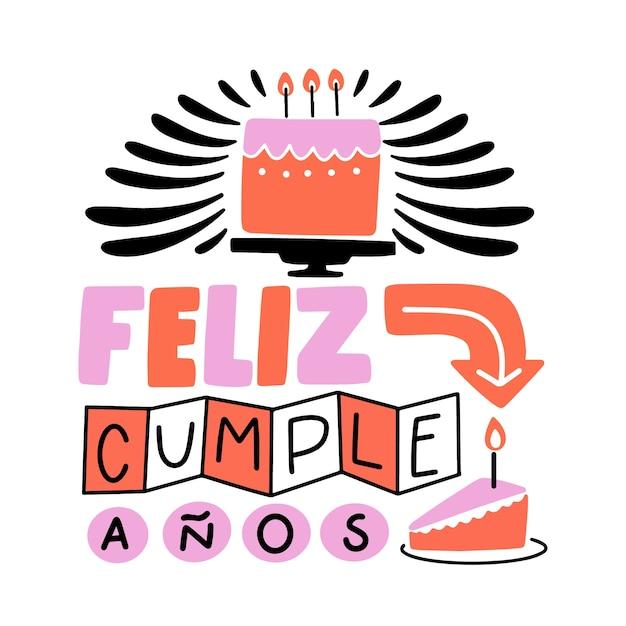Napis Feliz Cumpleaños Darmowych Wektorów