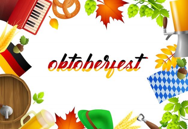 Napis i elementy imprezy oktoberfest Darmowych Wektorów