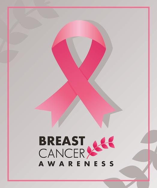 Napis Kampanii Raka Piersi Z Różową Wstążką I Kwadratową Ramką Z Liści Premium Wektorów