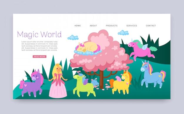 Napis Magiczny świat, Wspaniałe Zwierzęta Ze Skrzydłami, Fantasy, Strona Internetowa Dla Dzieci,, Ilustracja Kreskówka. Premium Wektorów