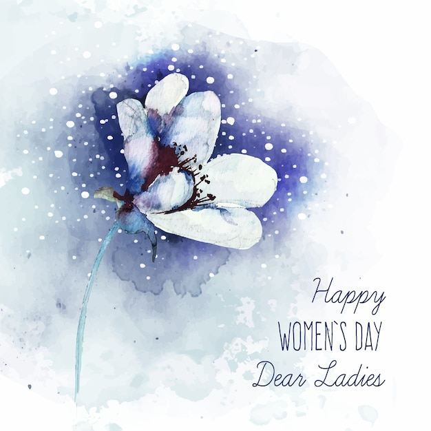 Napis Na Dzień Kobiet Z Pięknym Kwiatem Akwareli Darmowych Wektorów