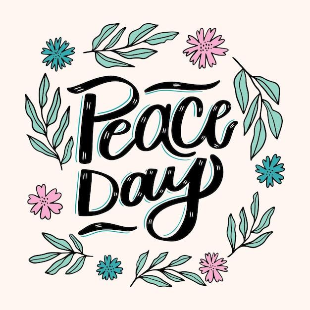 Napis Na Dzień Pokoju Z Ilustrowanymi Liśćmi I Kwiatami Darmowych Wektorów