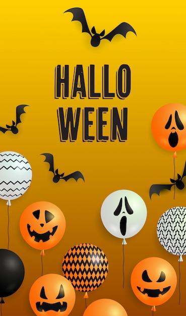 Napis na halloween, balony-duchy i nietoperze Darmowych Wektorów