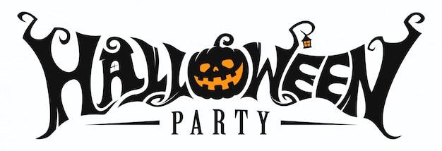 Napis na halloween party Premium Wektorów