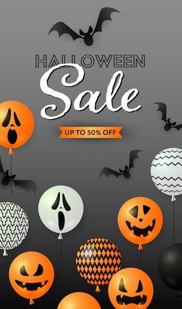 Napis na halloween sprzedaż nietoperzy i balonów z dyni Darmowych Wektorów