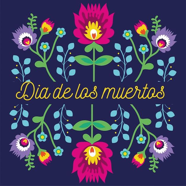 Napis na karcie dia de muertos z dekoracją ogrodową kwiatów Darmowych Wektorów