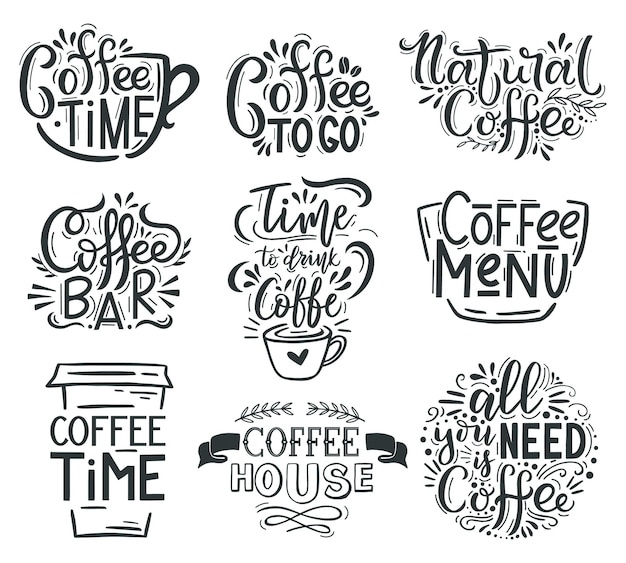 Napis Na Kawę. Cytaty Kawy Kawiarni Lub Restauracji, Gorące Smaczne Napoje Ręcznie Rysowane Herby Napis Premium Wektorów