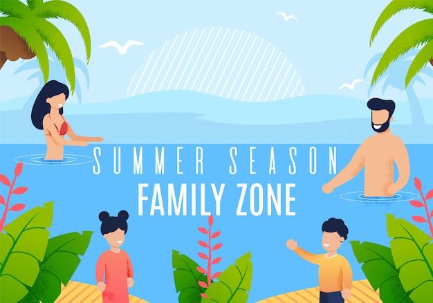 Napis Na Lato W Sezonie Rodzinnym Z Napisem Flat Banner Premium Wektorów