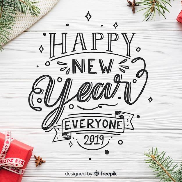 Napis na nowy rok 2019 Darmowych Wektorów