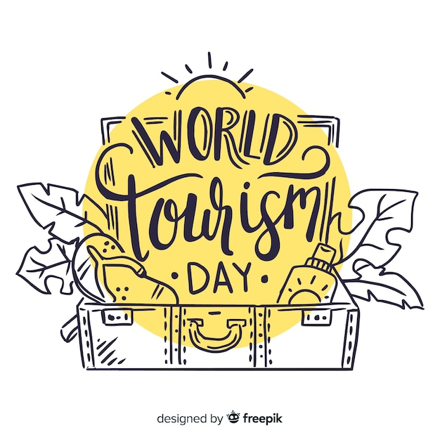 Napis na światowy dzień turystyki Darmowych Wektorów
