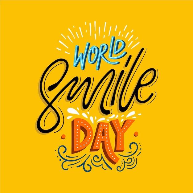 Napis Na światowy Dzień Uśmiechu Darmowych Wektorów