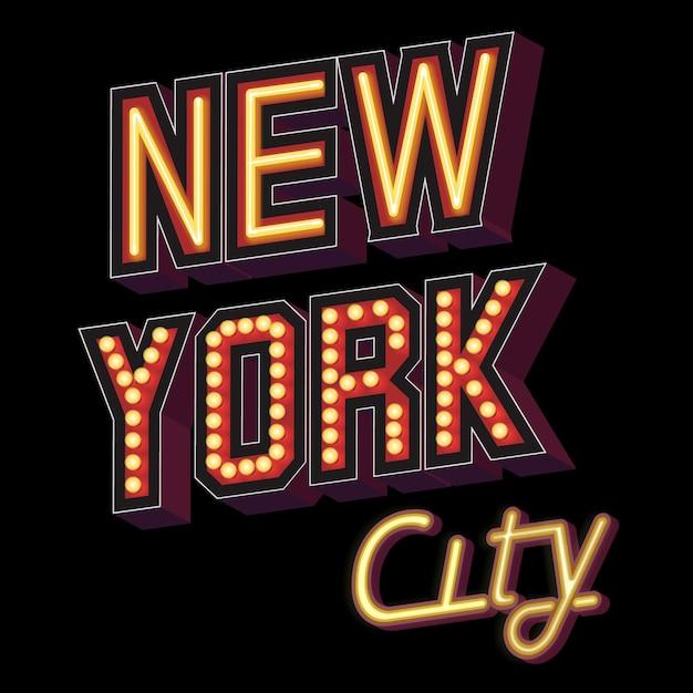Napis New York City W Formie Podświetlanych Znaków Z Efektem Neonu Darmowych Wektorów