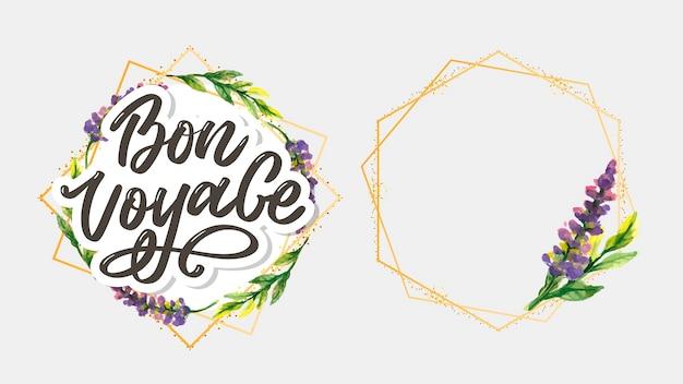 Napis Odręczny Bon Voyage Premium Wektorów