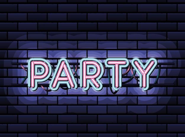 Napis Party W Neonowej Czcionce W Kolorze Różowym I Niebieskim Na Ciemnoniebieskim Projekcie Ilustracji Premium Wektorów