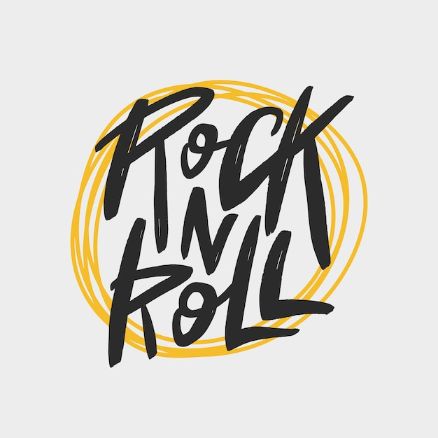 Napis pędzla rock n roll, nadruk typografii handwrittern na kartę, baner, t-shirt, plakat. Premium Wektorów