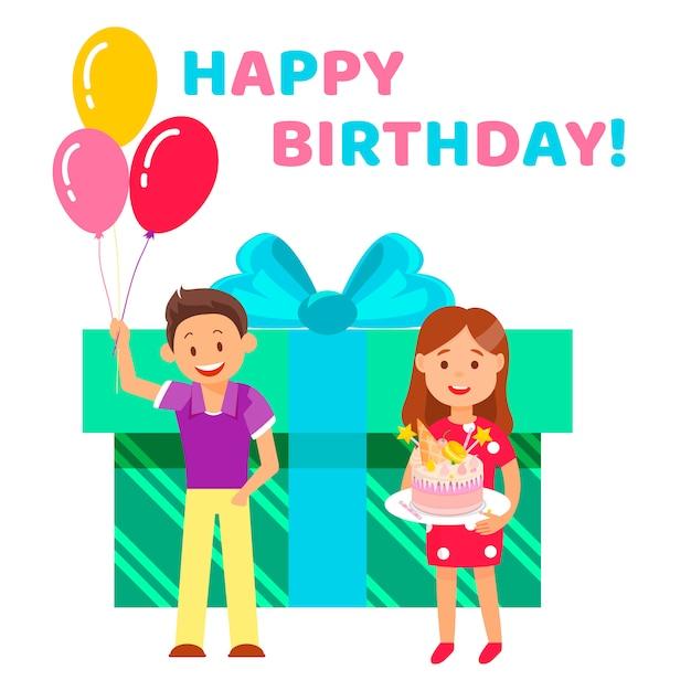 Napis płaski napis napis happy birthday. Premium Wektorów