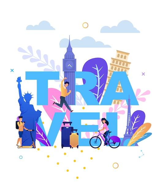 Napis Podróżny Z Szczęśliwymi Turystami I Zabytkami Premium Wektorów