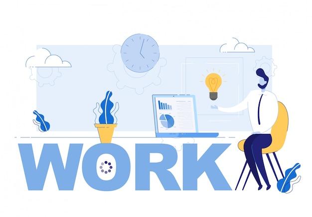 Napis Pracy I Biznesmen Zainspirowany Udanym Pomysłem Premium Wektorów