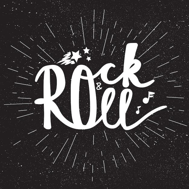 Napis Rock And Roll Premium Wektorów