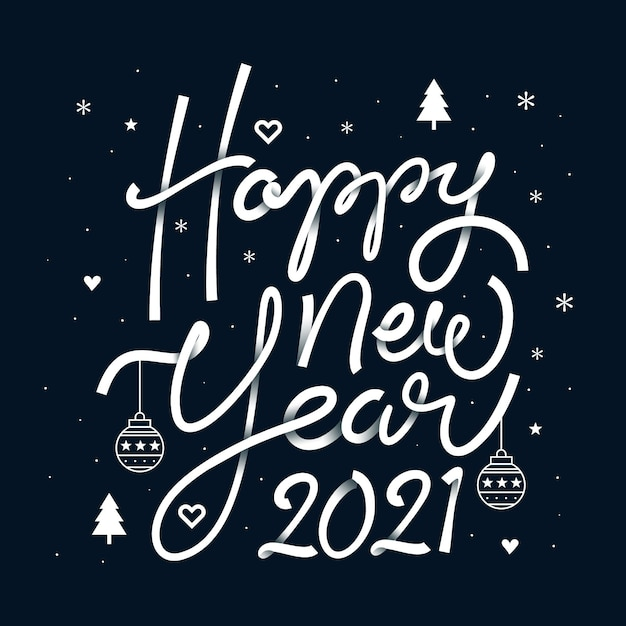 Napis Szczęśliwego Nowego Roku 2021 Premium Wektorów