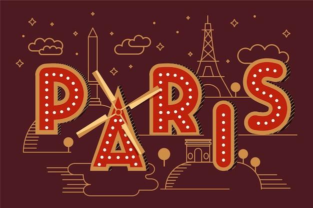 Napis W Mieście Paryż Darmowych Wektorów