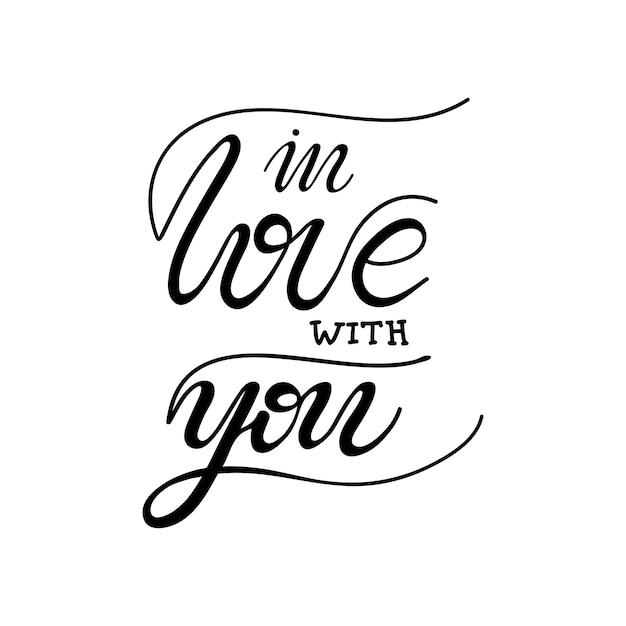Napis W Miłości Z Tobą. Ilustracji Wektorowych. Premium Wektorów