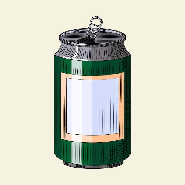 Napój Puszka Odizolowywająca Na Lekkim Tle. Ręcznie Rysowane Zielone Piwo Można Szablon. Premium Wektorów