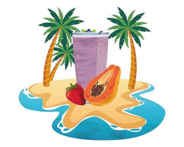 Napój Z Owoców Tropikalnych I Smoothie Premium Wektorów