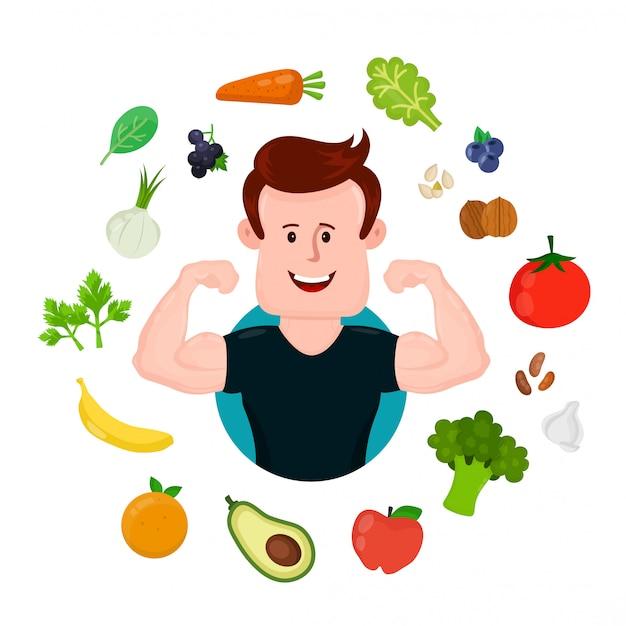 Napompowany Sport Fitness Młody Człowiek Wokół Warzyw I Owoców. Premium Wektorów
