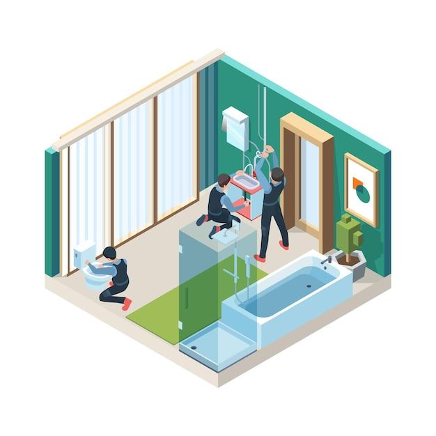 Napraw łazienkę. Hydraulicy Instalują Rurociągi W Ilustracjach Koncepcyjnych Myjni Izometrycznej. Premium Wektorów