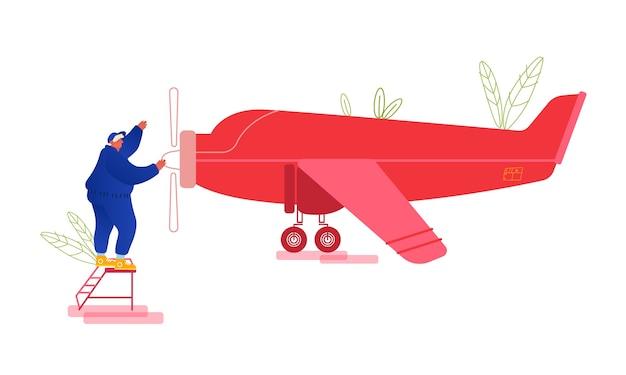 Naprawa I Konserwacja Koncepcji Samolotu. Premium Wektorów