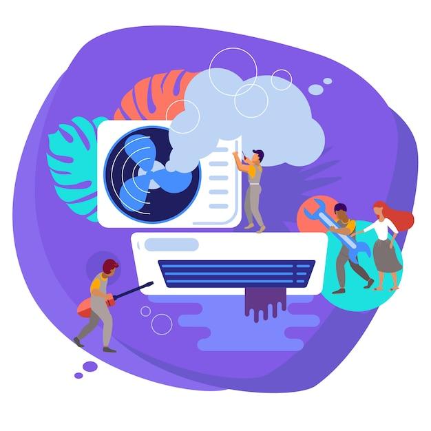 Naprawa klimatyzatorów. konserwacja i instalacja systemów chłodzenia. Premium Wektorów